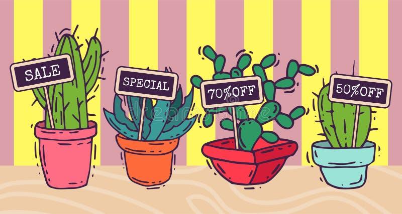 Van de cactussen groene installaties van Succulents de decoratieve banners vectorillustratie Aard botanische houseplant bloemenba royalty-vrije illustratie