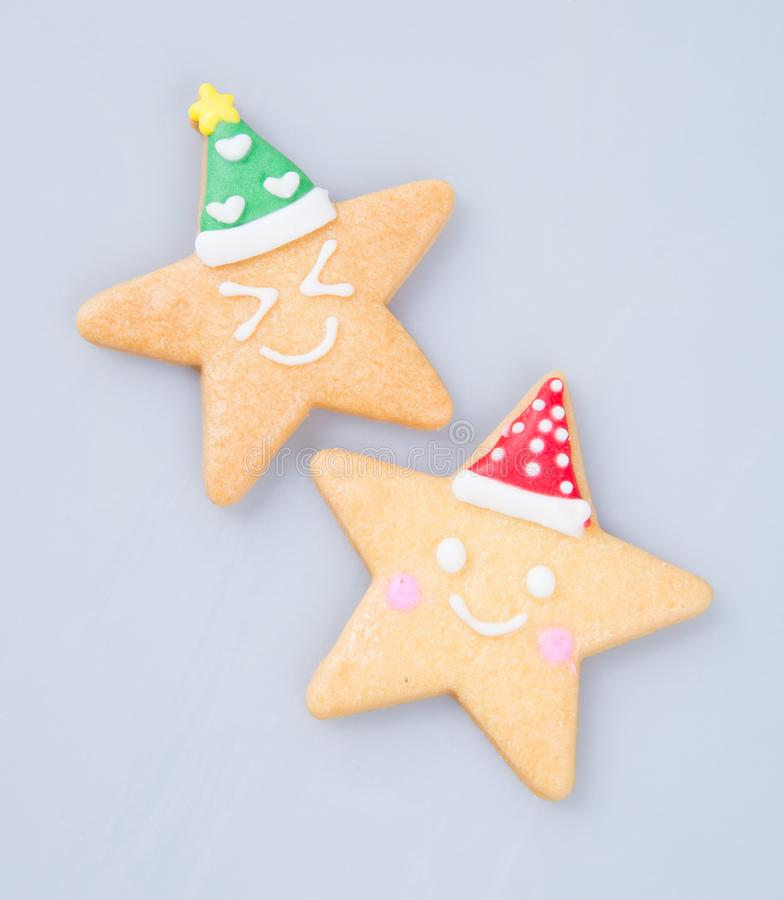 van de cakedecoratie of ster de koekjes van vormkerstmis op achtergrond royalty-vrije stock fotografie