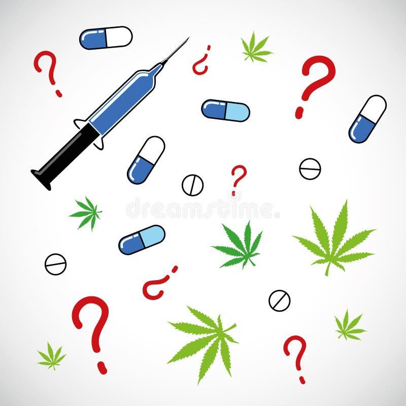 Van de cannabispijnstillers van spuitentabletten de medische symbolen royalty-vrije illustratie