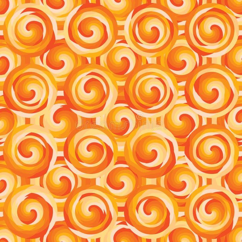 Van de de cirkellaag van de cirkelwerveling oranje de symmetrie naadloos patroon royalty-vrije illustratie