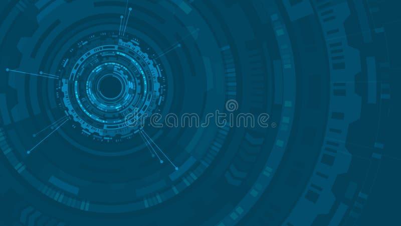 Van de de cirkelstructuur van HUD het abstracte Futuristische gebruikersinterface De achtergrond van de wetenschap Hoog - de Abst stock illustratie