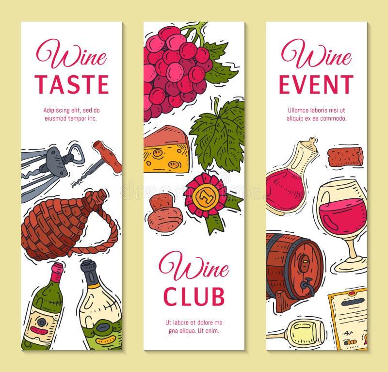Van de de clubbanner van de wijnsmaak van het de illustratiesglas de vectorfles van de de wijndruif Proevend gebeurtenissenmenu V stock illustratie