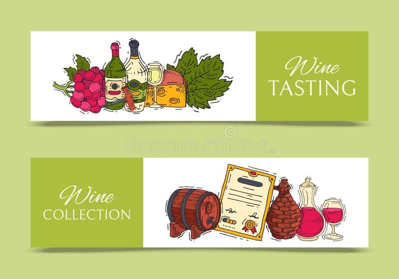 Van de de clubbanner van de wijnsmaak van het de illustratiesglas de vectorfles van de de wijndruif Proevend gebeurtenissenmenu V royalty-vrije illustratie