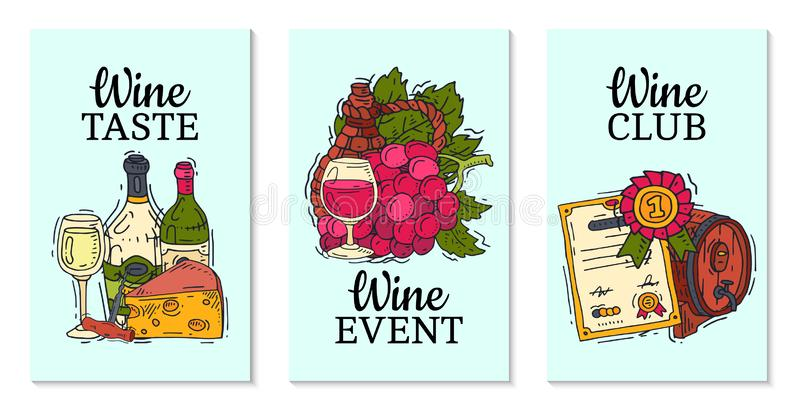 Van de clubkaarten van de wijnsmaak van het de illustratiesglas de vectorfles van de de wijndruif Proevend gebeurtenissenmenu De  royalty-vrije illustratie