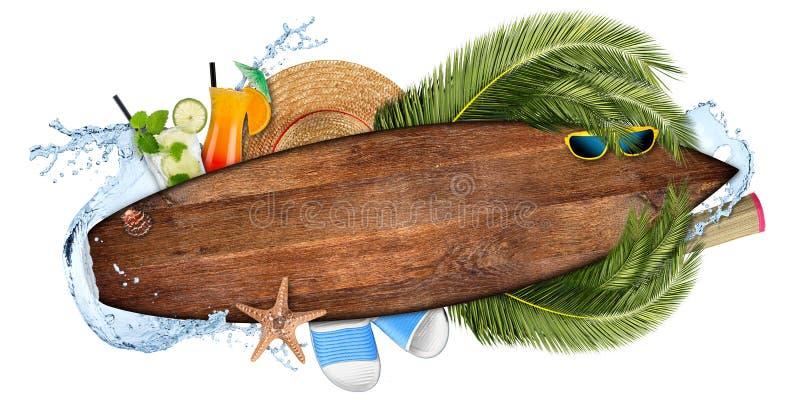 Van de de cocktailbar van de strandzomer van het het conceptentoerisme lege woode als achtergrond royalty-vrije illustratie