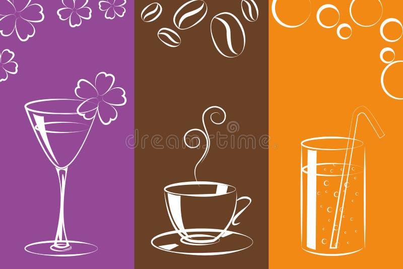 Van de cocktailkoffie en limonade kleurrijke dranken royalty-vrije illustratie