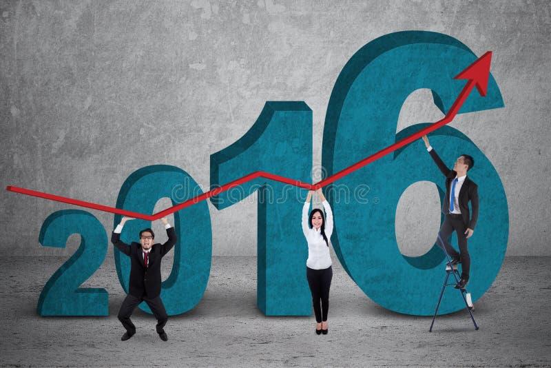Van de commerciële de financiële grafiek teamgreep met nummer 2016 vector illustratie