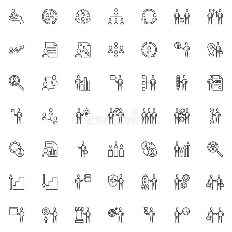 Van de commerciële geplaatste de pictogrammen teamlijn royalty-vrije illustratie