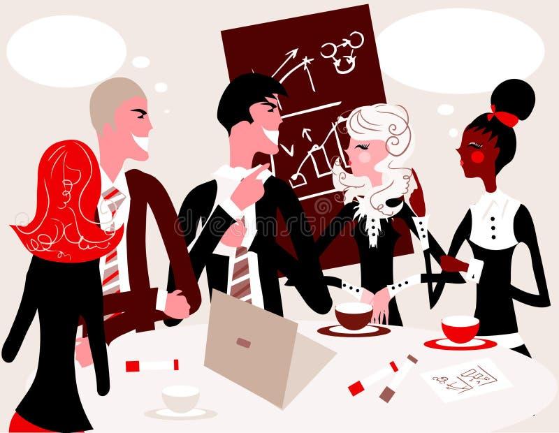 Van de commerciële het portretmensen groepsvergadering het werken stock illustratie