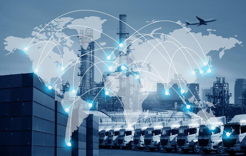 Van de commerciële verschepen en het vervoer het wereldwijd de industrie algemene logistiek royalty-vrije stock fotografie