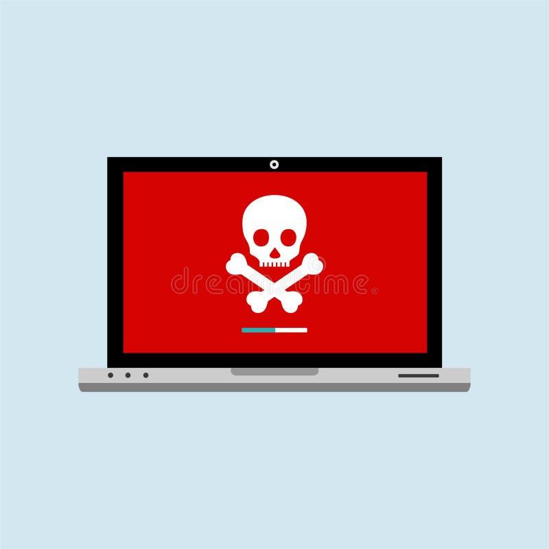 Van de de computerbeveiligingtechnologie van hakkerinternet het vlakke concept De computer van de hakkeractiviteit Waakzaam beric royalty-vrije illustratie