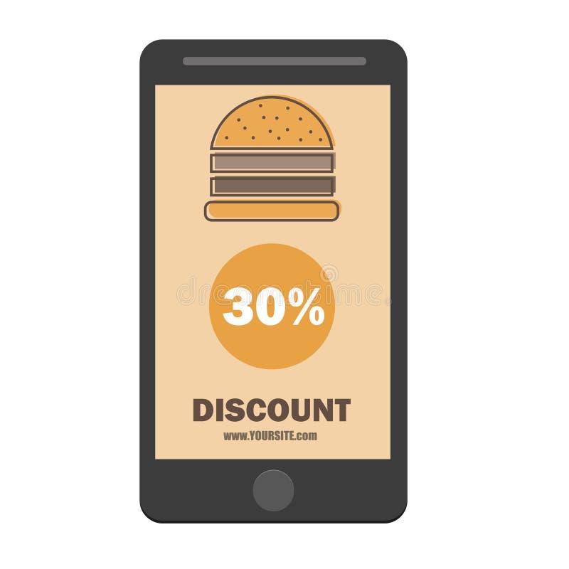Van de de couponkorting van de snel voedselhamburger het malplaatje vlak ontwerp stock illustratie