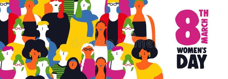 Van de Dag 8 Maart van vrouwen het Webbanner van diverse meisjes stock illustratie