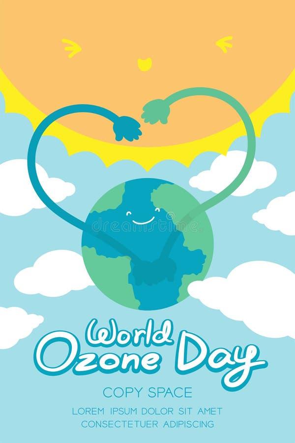 Van de Dag 16 September van het wereldozon verticale de Bannerreeks, de Globale verwarmende aarde van de conceptenglimlach met he stock illustratie