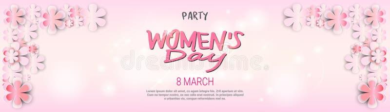 Van de de Dagpartij van gelukkige Vrouwen van het de Achtergrond uitnodigingsontwerp Decoratie het Malplaatje van de Horizontale  stock illustratie