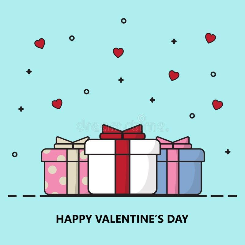 Van de de dagprentbriefkaar van de creatieve gelukkige valentijnskaart de vectorillustratie vector illustratie