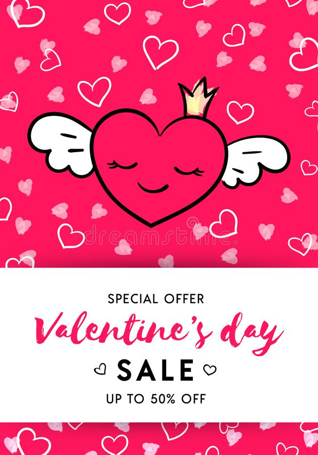 Van de de dagverkoop van Valentine het rood van het de bannermalplaatje vector illustratie