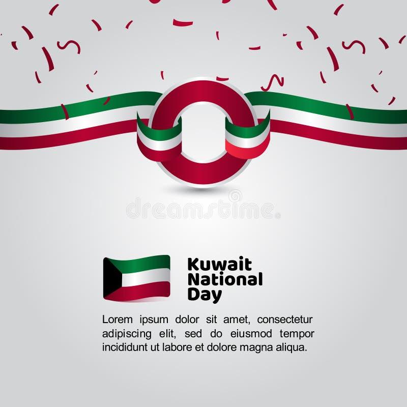 Van de de Dagvlag van Koeweit de Nationale Illustratie van het het Malplaatjeontwerp Vector vector illustratie