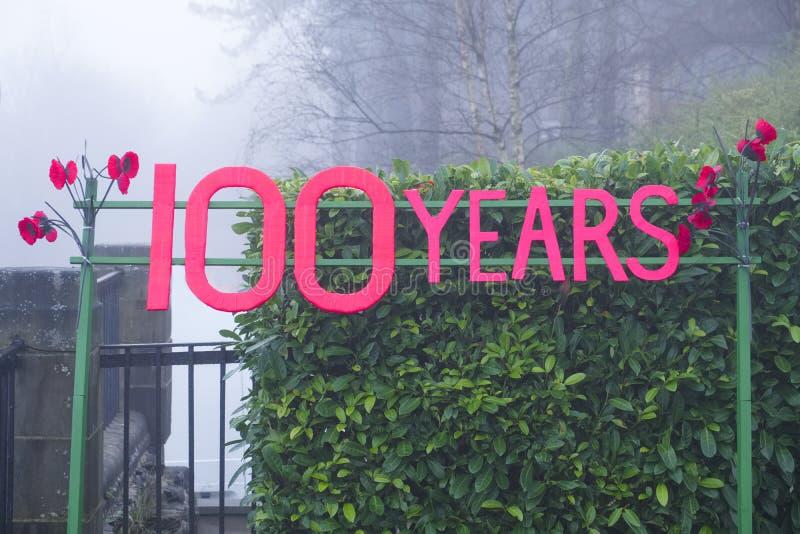 100 van de de Dagzondag van de verjaardagsherinnering van het het tekenjaar gedenkteken voor wereldoorlog één gebeurtenis rode pa stock afbeelding