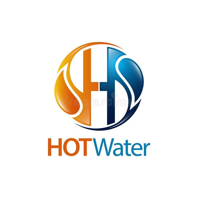 Van de de dalings aanvankelijk brief H van het cirkelwarme water het embleemconceptontwerp Element van het symbool het grafische  vector illustratie