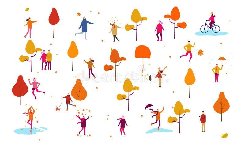 Van de dankzeggingsmensen van de de herfstdaling van het het huisbeeldverhaal loopt de openluchtreeks van de de illustratiescène  vector illustratie