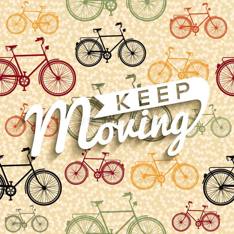 Van de de affichefiets van de fietstypografie retro het conceptentekst stock illustratie