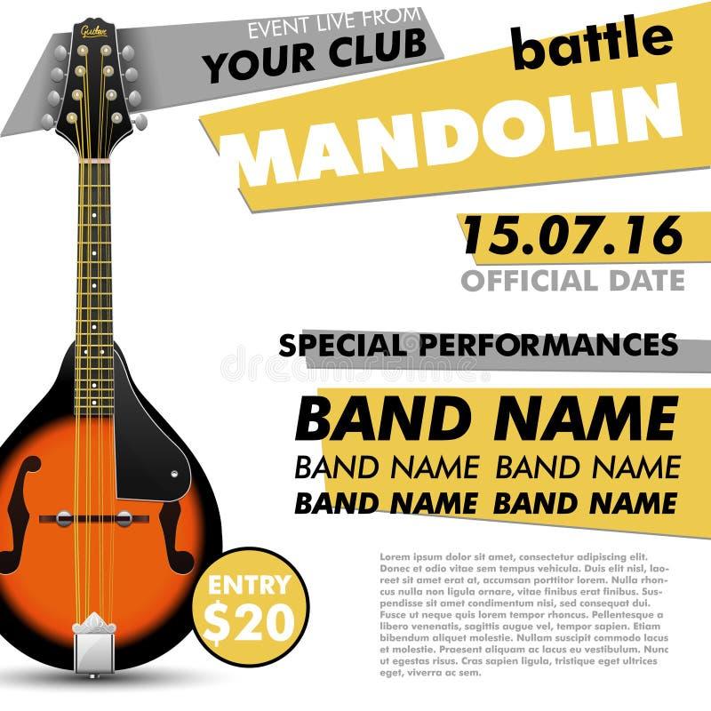 Van de de afficheslag van het mandolinefestival levende moderne het overleg akoestische volksmuziek indie vector illustratie