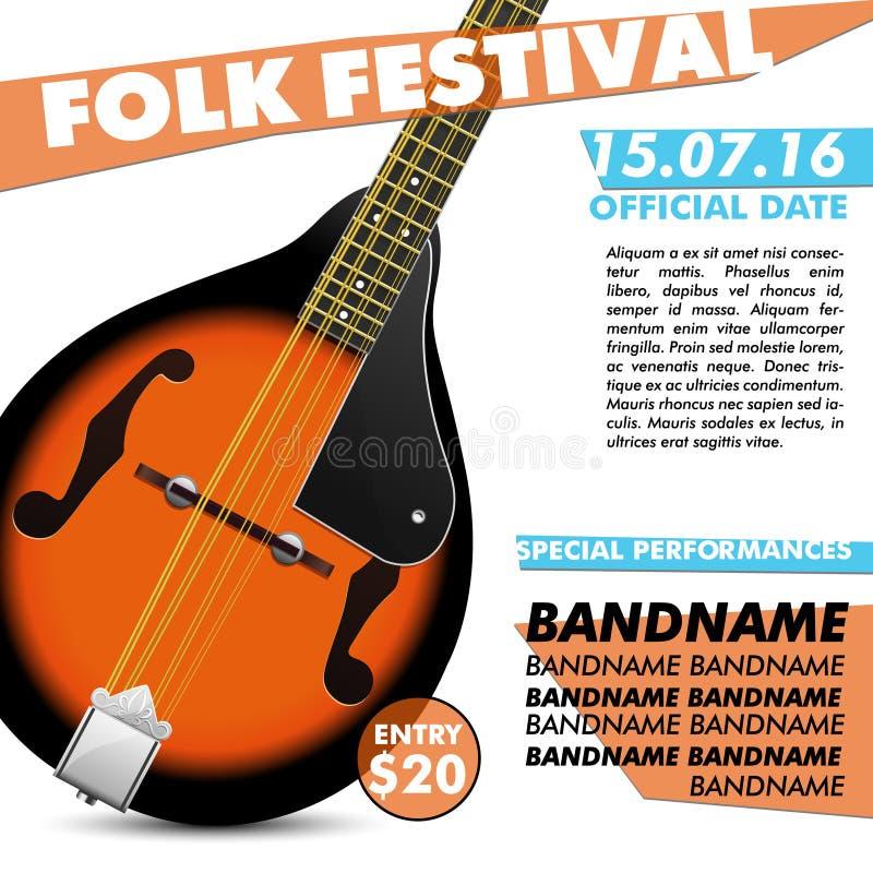 Van de de afficheslag van het mandolinefestival levende moderne het overleg akoestische volksmuziek indie royalty-vrije illustratie