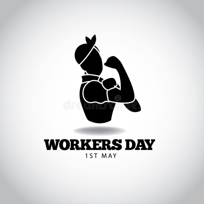 Van de de arbeidersdag van mei het eerste zwart-witte ontwerp vector illustratie