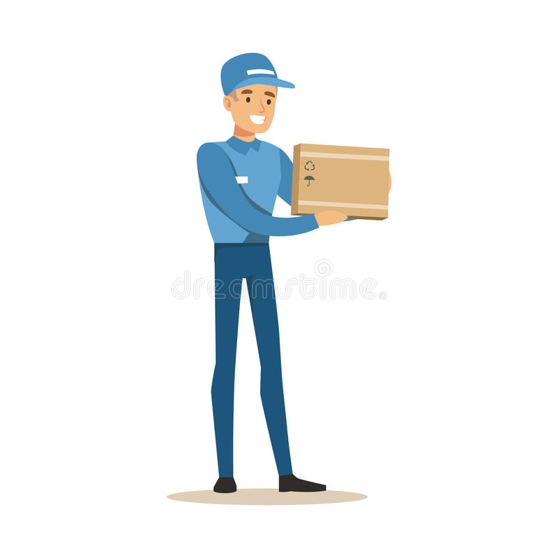 Van de de Arbeidersholding van de leveringsdienst de Kleine Breekbare Doos, Glimlachende Koerier Delivering Packages Illustration stock illustratie