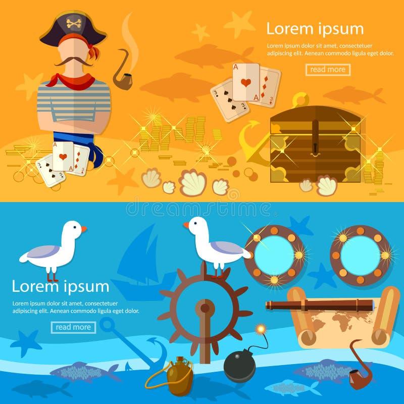 Van de de bannersschat van het piraatavontuur de borstfles van rumzeemeeuw vector illustratie