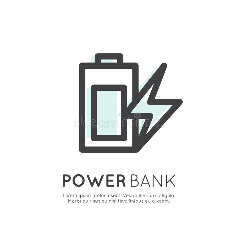 Van de de Batterijtelefoon van de machtsbank de Ladersbatterij, van het de Lijnoverzicht van Minimalistic Vector Vlak van het de  vector illustratie