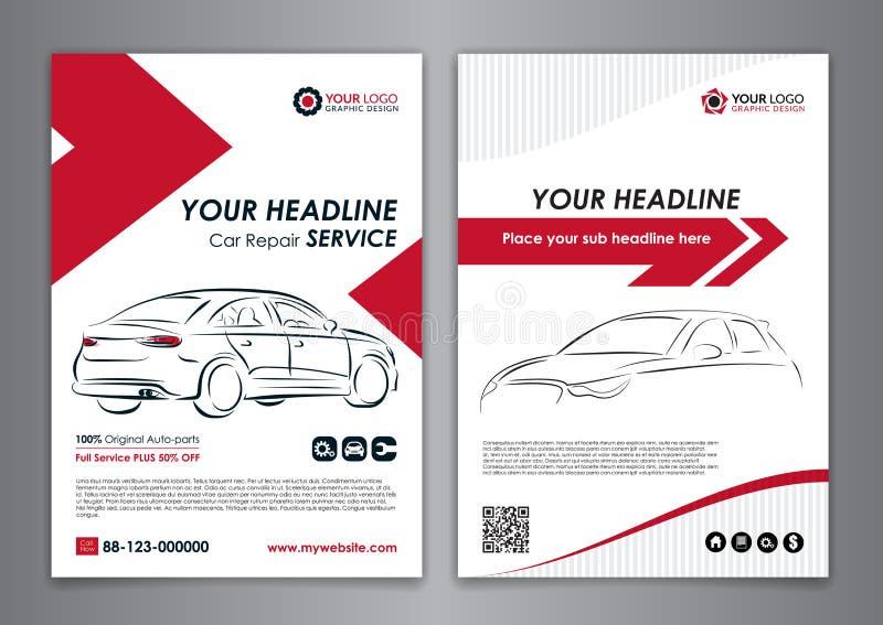 A5, A4 van de de bedrijfs dienstauto lay-outmalplaatjes De automalplaatjes van de reparatiebrochure, automobiele tijdschriftdekki vector illustratie