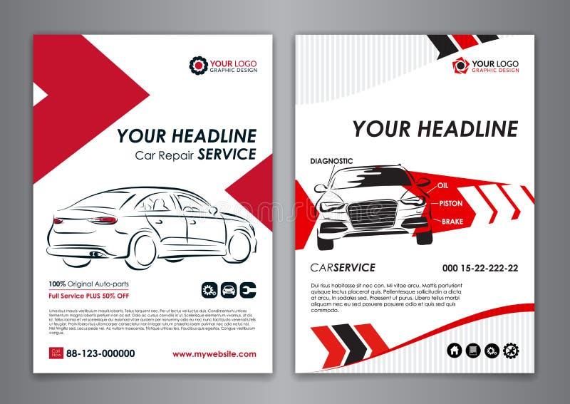 A5, A4 van de de bedrijfs dienstauto lay-outmalplaatjes De automalplaatjes van de reparatiebrochure, automobiele tijdschriftdekki royalty-vrije illustratie