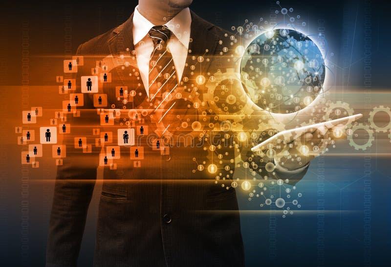 Van de de bedrijfs tablettechnologie van de zakenmanholding concept stock afbeeldingen