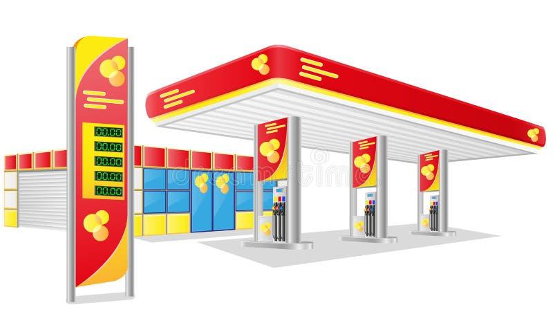 Van de de benzinepost van de auto de vectorillustratie vector illustratie