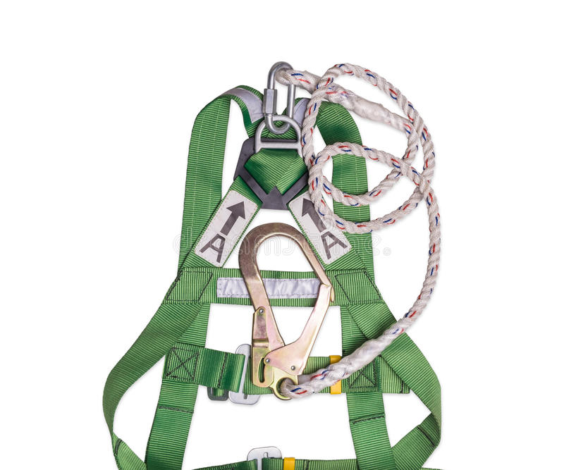 Van de de beschermingshaak van de close-updaling de uitrusting en het sleutelkoord voor het werk bij hoogten royalty-vrije stock foto