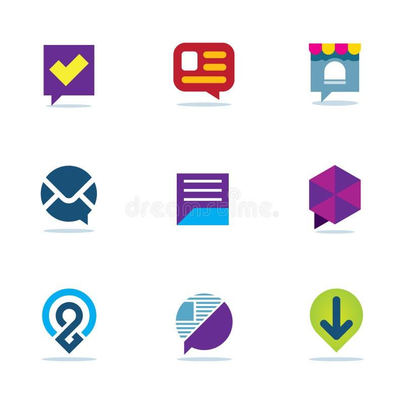 Van de de besprekingsdialoog van het bellenpraatje van het het netwerk communautaire embleem sociale het pictogramreeks vector illustratie