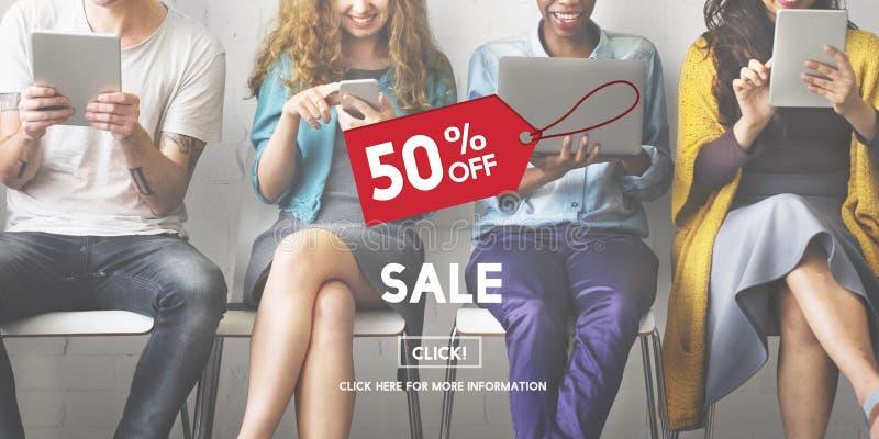 Van de de Bevorderingskorting van het verkoopprijskaartje de Homepageconcept stock fotografie