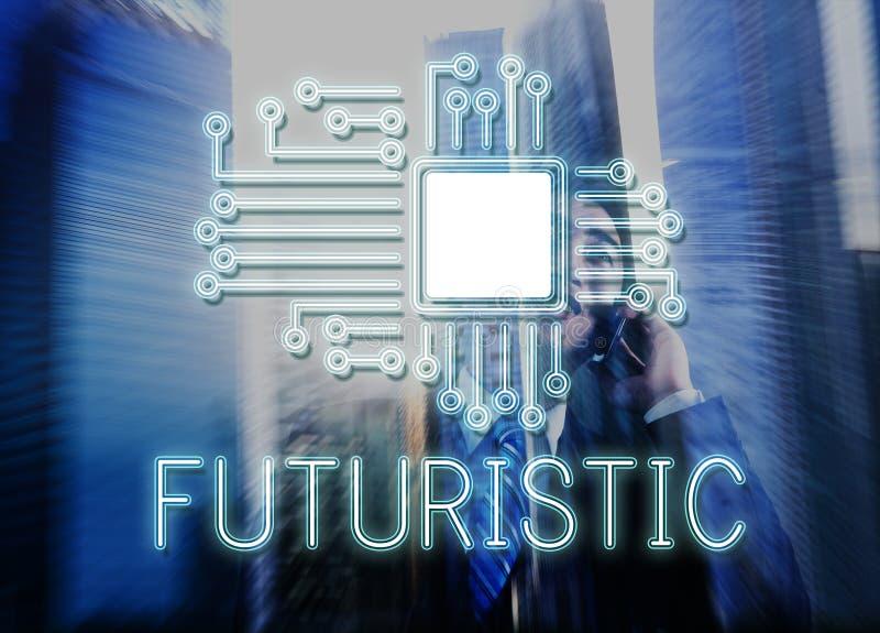 Van de de Bewerkerinnovatie van de technologiekring het Netwerkconcept stock foto