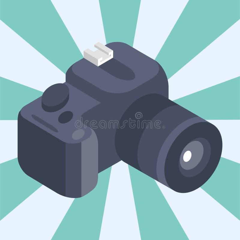 Van de de bezinningsfilm van de fotocamera kijkt de isometrische vector van het het instrumenten objectieve materiaal de fotograf vector illustratie