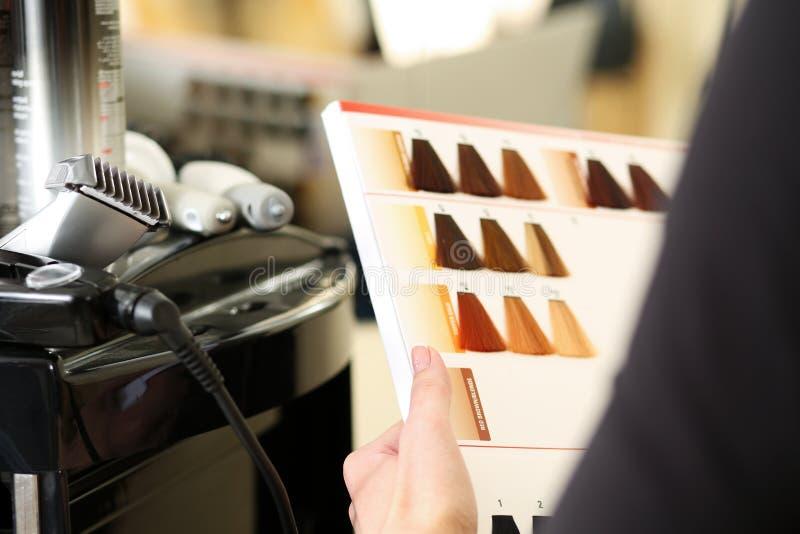 Van de de bezoekergreep van de kappersalon in hand boek van kleurensteekproeven stock foto's