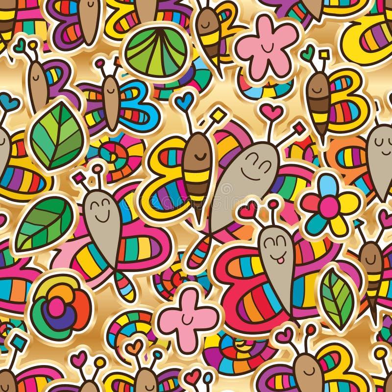 Van de de bijenslak van de libelvlinder van het de bloemblad de sticker naadloos patroon royalty-vrije illustratie