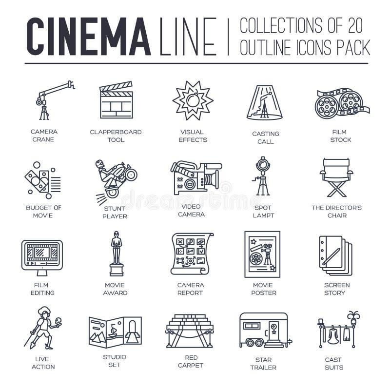 Van de de bioskoopindustrie van de premiekwaliteit reeks van het de lijnontwerp de dunne Het filmen van minimalistic symboolpak D royalty-vrije illustratie