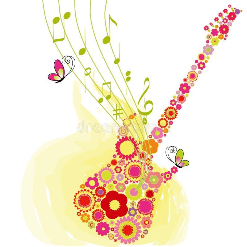 Van de de bloemgitaar van de lente de achtergrond van het de muziekfestival royalty-vrije illustratie