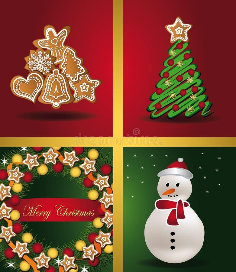 Van de de boompeperkoek van de Vensters van kerstkaarten de sneeuwman w stock illustratie