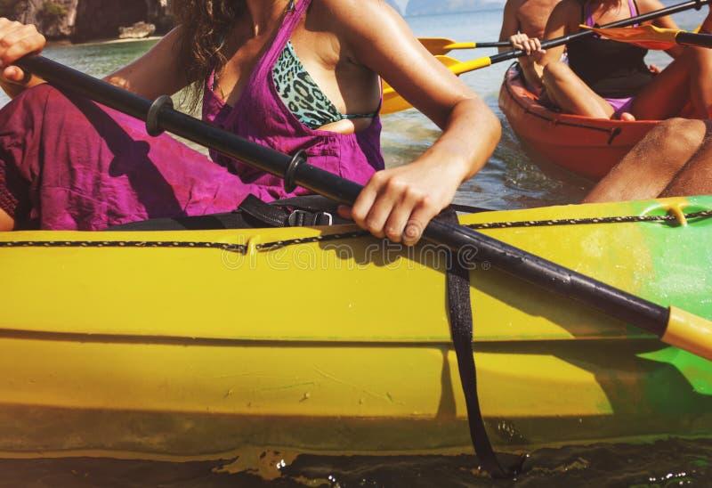 Van de de Boottoerist van het Kayakingsschip de Reis Zeevaartconcept stock foto's