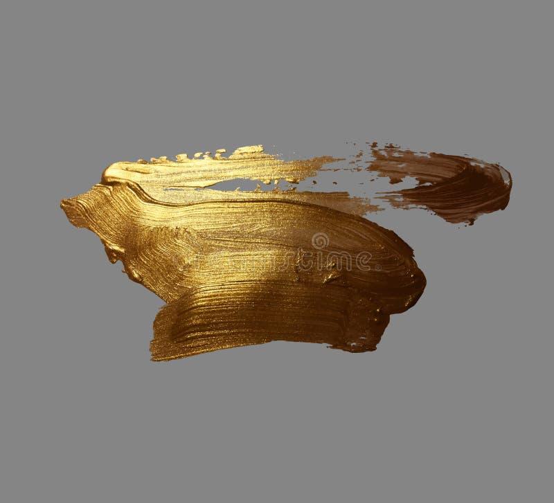 Van de de borstelslag van de handtekening gouden de verfvlek vector illustratie