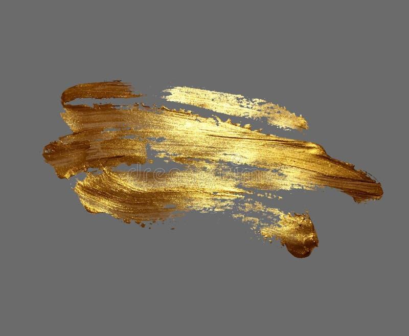 Van de de borstelslag van de handtekening gouden de verfvlek op een grijze achtergrond royalty-vrije illustratie