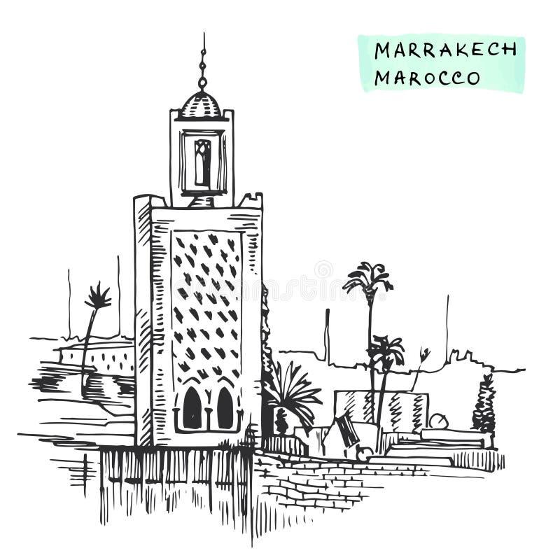 Van de de bouwhand getrokken inkt van Marrakech Marokko de Zwarte vectorillustratie royalty-vrije illustratie